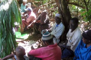 villagers gathered at the site