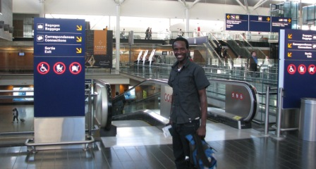 Emmanuel arrives at the Montreal airport